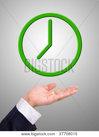 Conceptual Image, Green Clock On Hand.