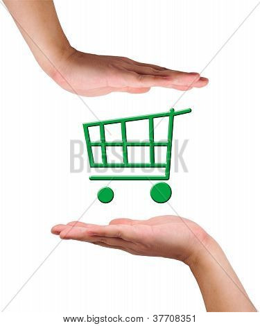 "Conceptual Image, Help And Care For ""green Shopping""."