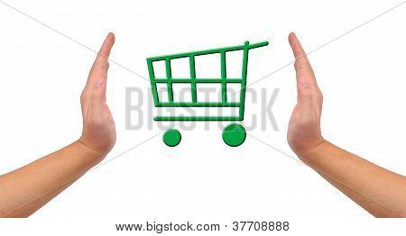 """Imagem conceitual, ajudar e cuidar para """"compras verdes""""."""