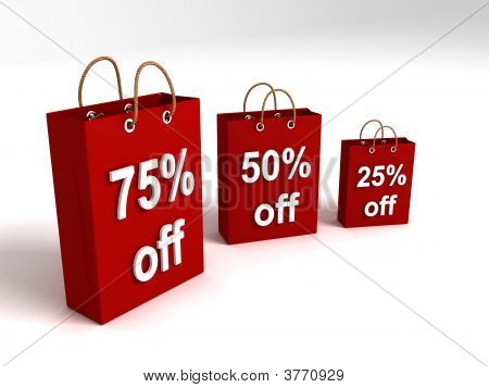 Shopping Bags Showing Off Percentages