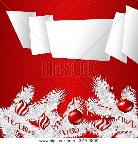 Merry Christmas vector background com bolas brilhantes.