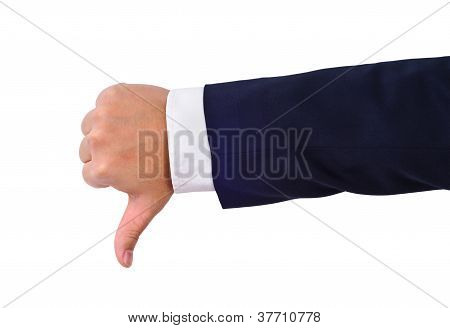 Businessman's Thumb Down Hand Sign