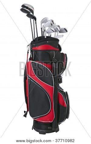 Golf bag and clubs isolated on white
