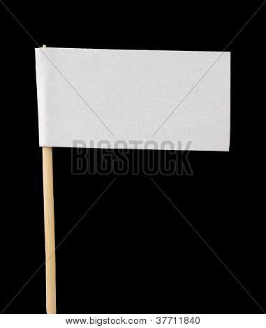 Blank Paper Flag On Black Background