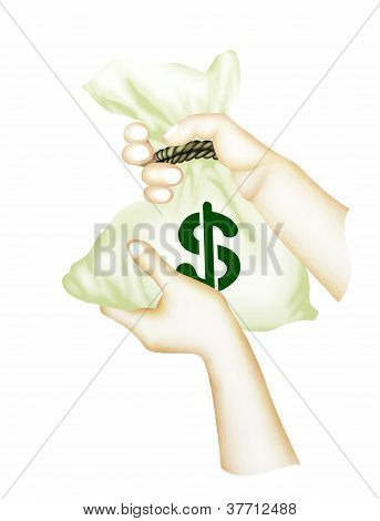 Human Hand Holding A Bag of Money