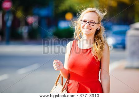 Young lady at a crossroads