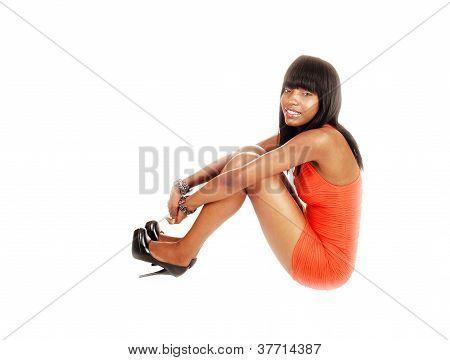 Black Girl Sitting On Floor.
