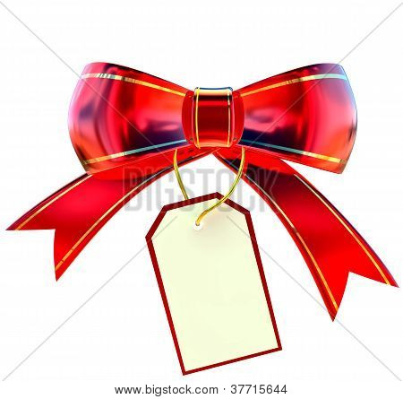 red Christmas bow with label