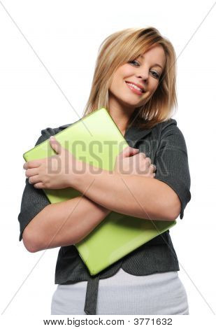 Beautiful Young Businesswoman With Laptop