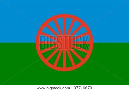 Gypsy (roma) Flag - Blue , Green And Blue Colors Symbolize Sky,earth, Red Wheel Symbolizes Movement