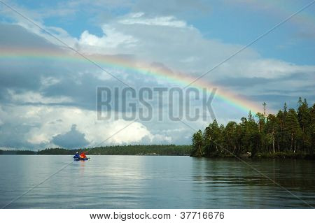 Double Rainbow During Kayaking In Karelia Republic,engozero Lake ,nothern Russia