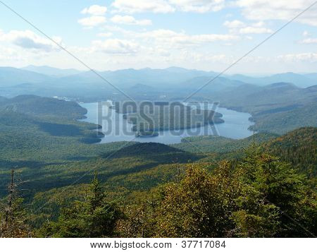 View of Lake Placid from Whiteface Mountain, Adirondack Mountains, New York State, USA