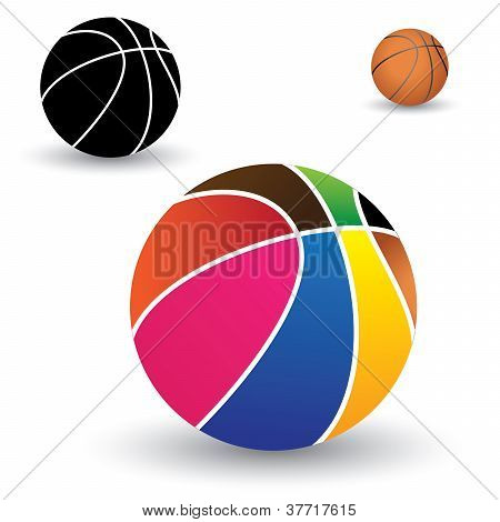 Illustration Of Beautiful Colorful Basket Ball Along With Brown And Black(and White) Balls. The Colo