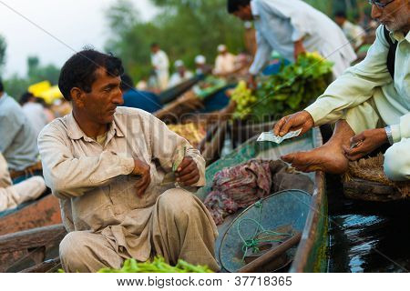 Dal Lake Floating Market Boat Paying Money Sale