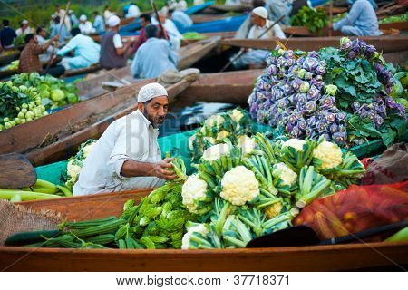 Dal Lake Floating Market Boat Full Vegetables