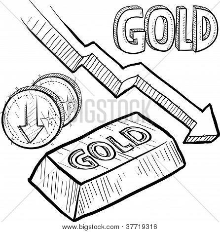 Gold value decreasing