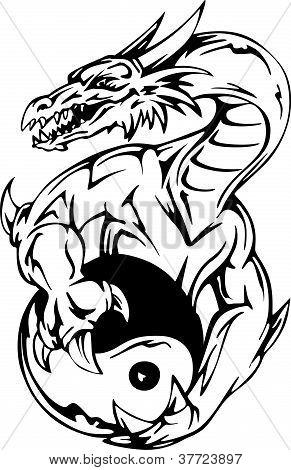 Dragon Tattoo With Yin-yang Sign