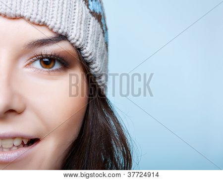 half face of winter woman