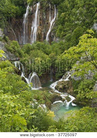 Waterfalls And Lakes In Plitvice National Park, Croatia