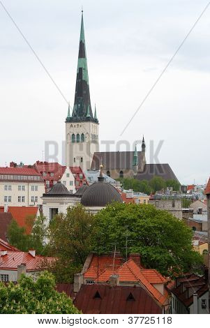 View on old town with st. Olaf's Church, Toompea (Tallinn, Estonia)
