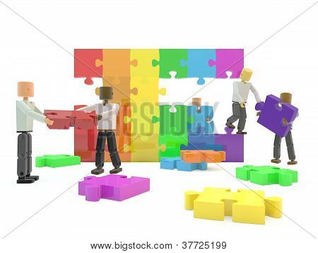 Rainbow jigsaw pieces forming a wall