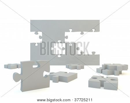Blank jigsaw pieces forming a wall