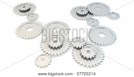 A set of 3D silver gears