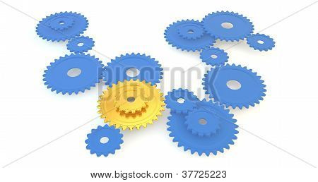 A gold 3D cogs amongst blue cogs