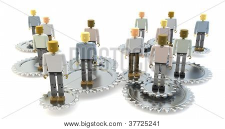 3D figures on silver cogs