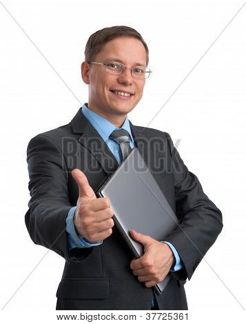 Businessman With Laptop Showing Thumbs Up
