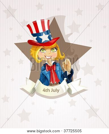 4th July poster with pretty blond girl