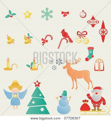 Christmass And New Year Stamp Icon  Symbols Set