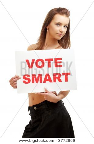 Lovely Girl Holding Vote Smart Board