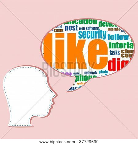Social Media Words On Man Head - Vector Concept