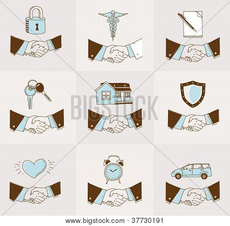 Handshake insurance icons