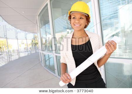 Woman Architect On Construction Site