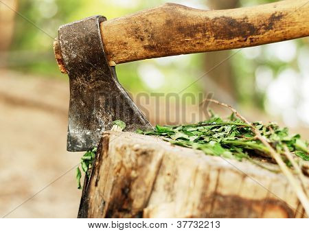 Close Up Image Of Old Ax
