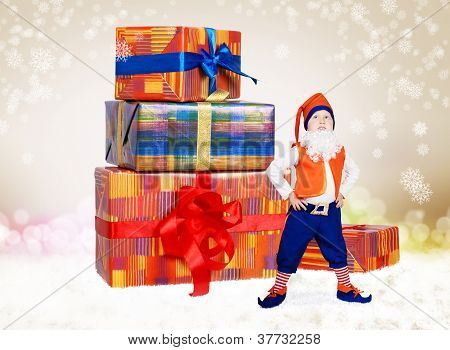 Little Christmas Elf With Gift Boxes