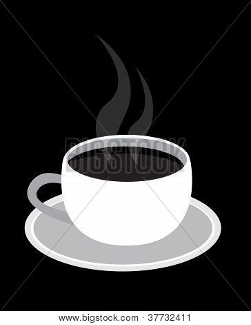 Black coffe in white cup Vector