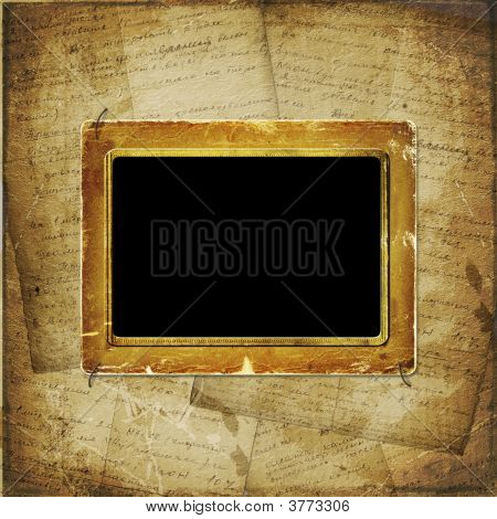 Old  Scarred Photoframe On The  Abstract Background With Historical Manuscript