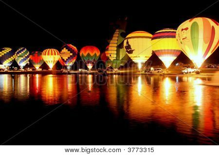 Balloon Glow On Lake