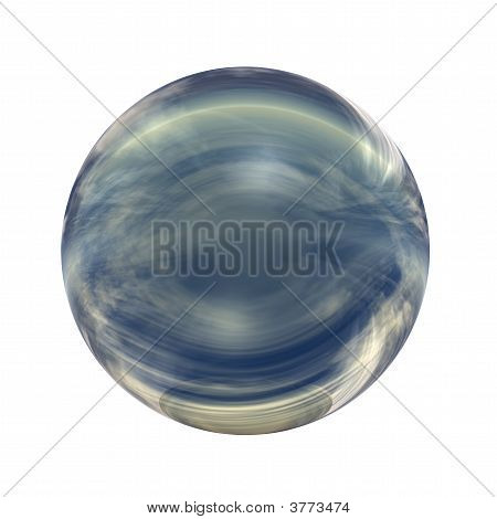 High resolution 3D yellow and blue glass sphere with shadow isolated on white, reflecting a sky with