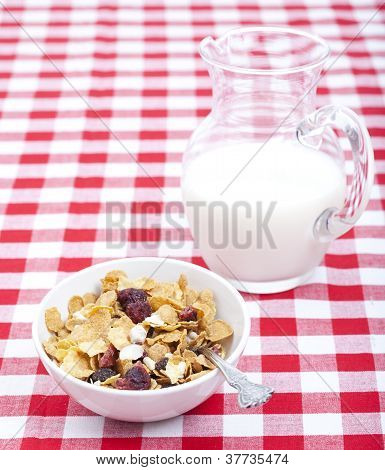 Breakfast Cereal With Carafe Of Milk