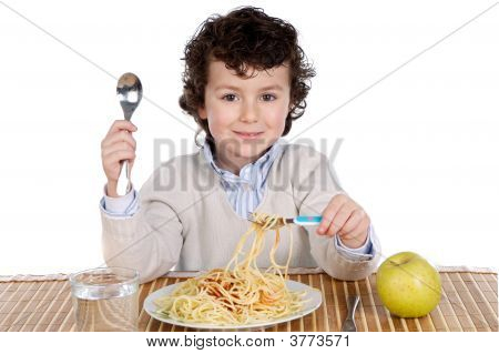 Precious Child Eating Spaghetti