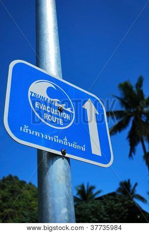 tsunami escape route sign