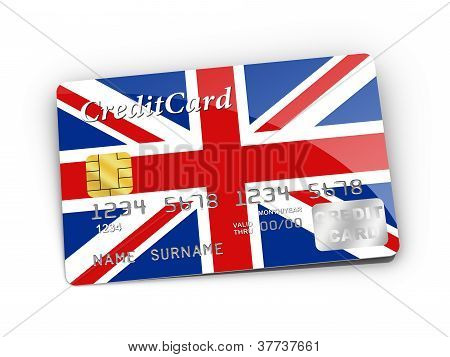 Credit Card Covered With UK Flag.