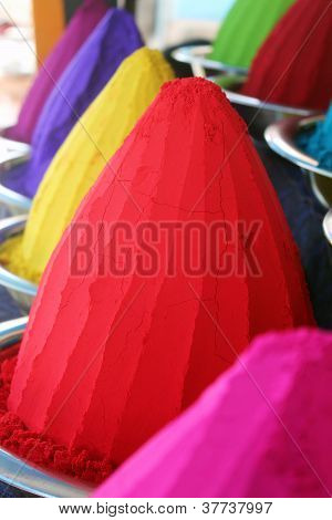 Piles And Mounds Of Colorful Dye Powders For Holi Festival