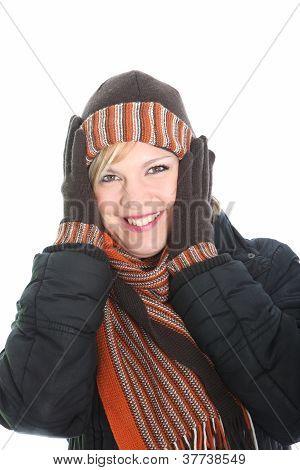 Vivacious Woman In Winter Fashion