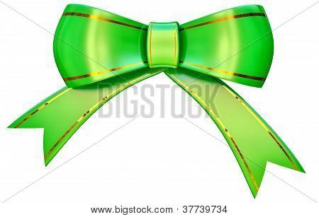 Green satin gift bow