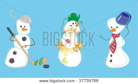 Three snow mans